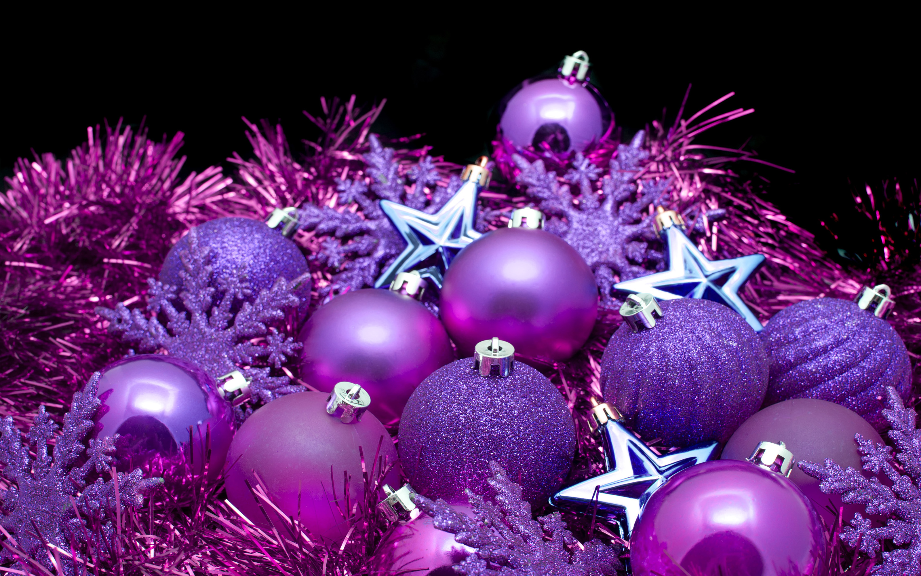 Purple Christmas Decorations HD Wallpaper