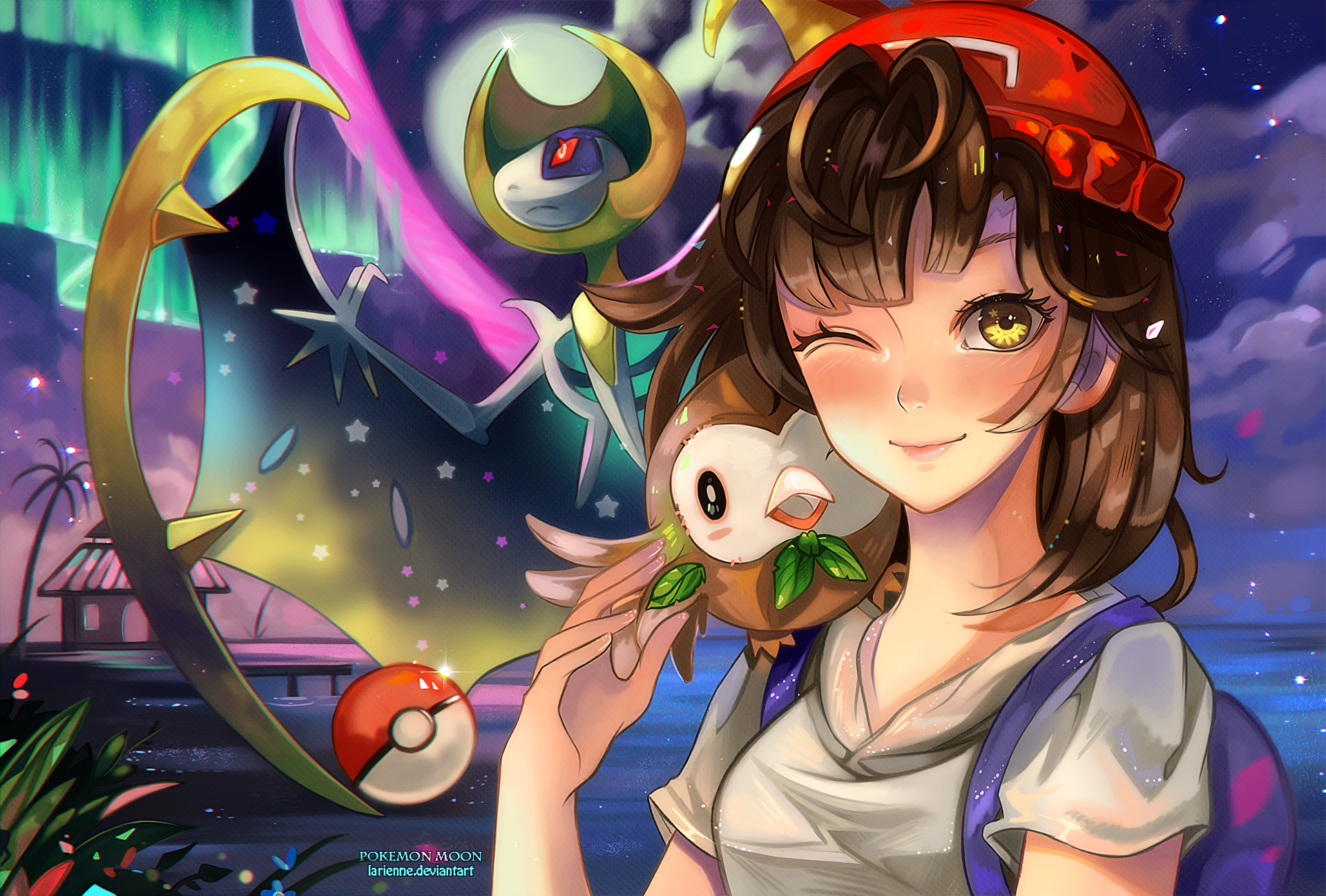 Video Game - Pokémon Sun and Moon  Pokémon Rowlet (Pokémon) Lunala (Pokémon) Wallpaper