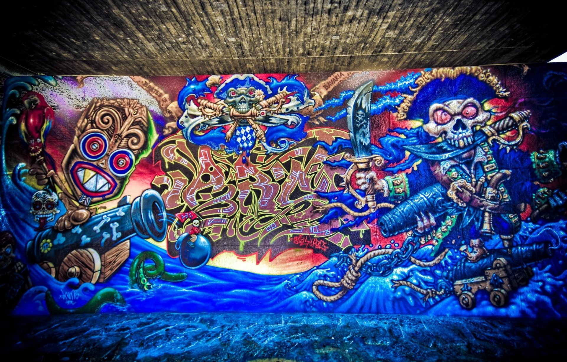 艺术 - 涂鸦  艺术 海盗 蓝色 壁纸