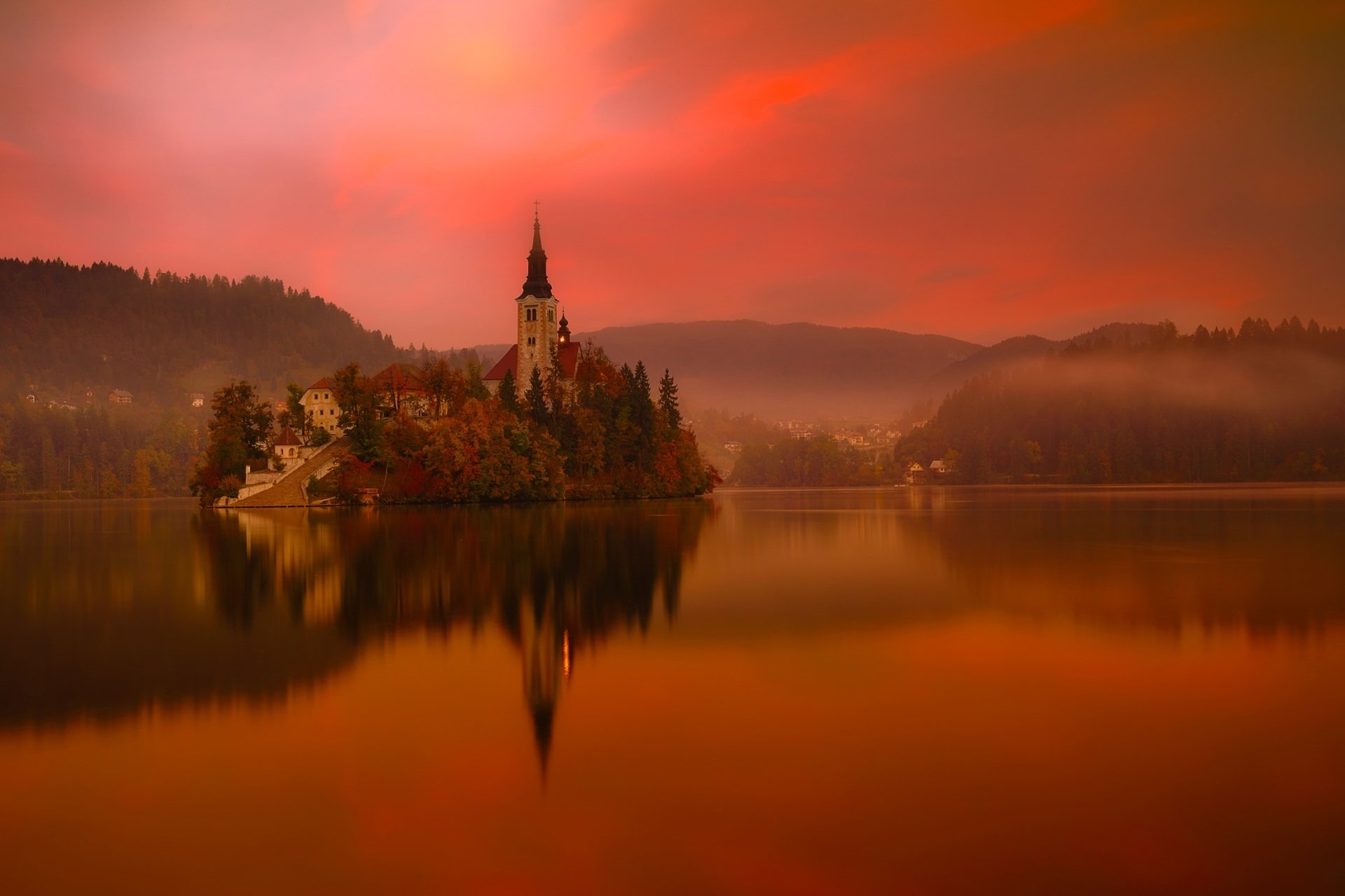 Religious - Assumption of Mary Church  Lake Bled Slovenia Orange Reflection Religious Wallpaper