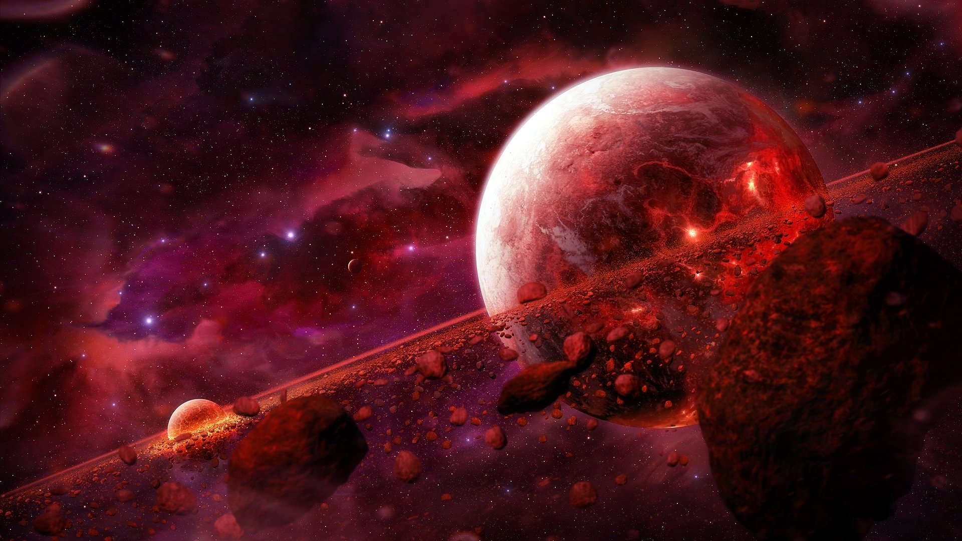 Planet and space rocks fondo de pantalla hd fondo de - Red space wallpaper 4k ...