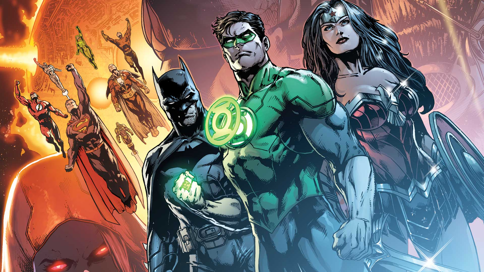 Comics - Justice League Green Lantern Flash Superman Batman Wonder Woman  Aquaman Shazam (DC Comics