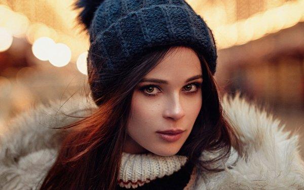 Women Face Model Hat Hazel Eyes Redhead Bokeh HD Wallpaper | Background Image