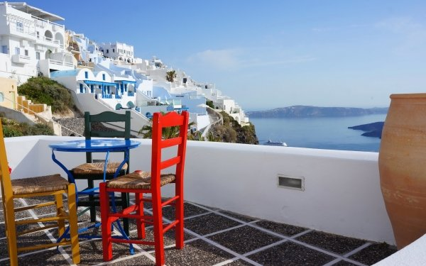 Man Made Santorini Towns Greece House Porch Chair HD Wallpaper   Background Image