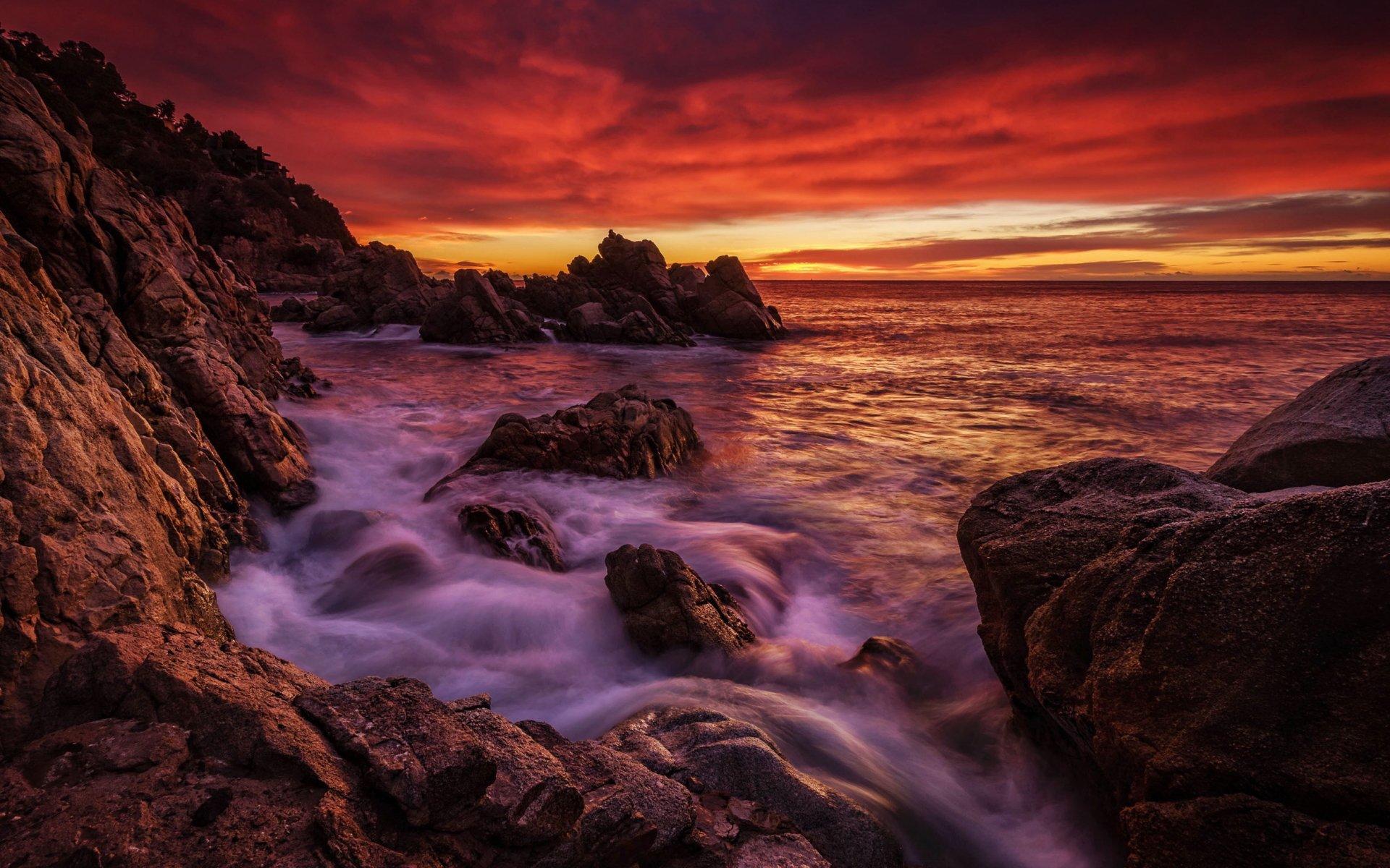 Rocky Coast Sunset HD Wallpaper   Background Image ...