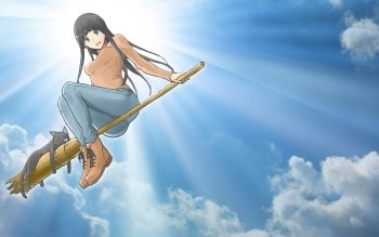 Flying witch wallpaper