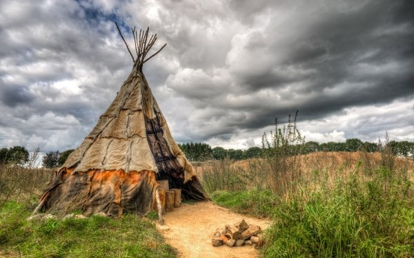 Man Made Tipi Native American Cloud Tent HDR HD Wallpaper | Background Image