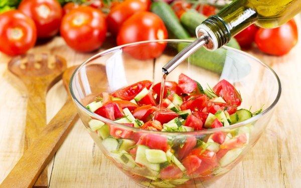 Food Salad Tomato Cucumber Still Life Oil HD Wallpaper | Background Image