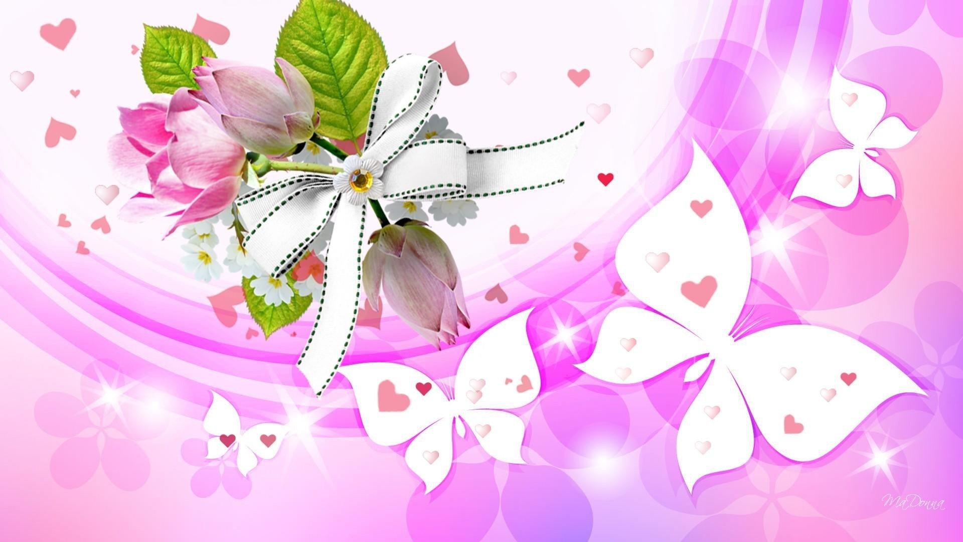 艺术 - 蝴蝶  艺术 心形 花 Pink 白色 壁纸