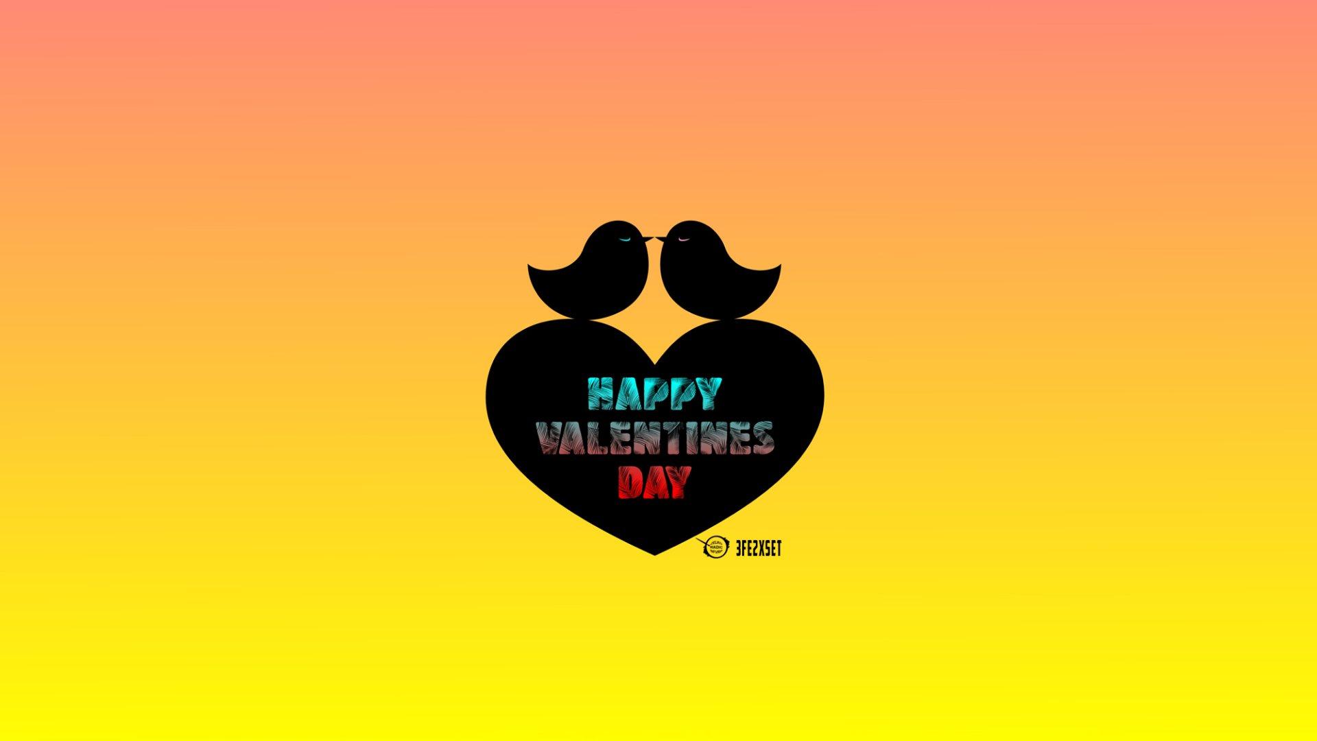Праздничные - День Святого Валентина  Happy Valentine's Day Праздничные Сердце Птицы Colorful Художественные Обои