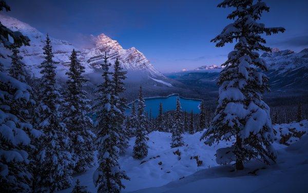 Earth Winter Landscape Mountain Lake Snow Banff National Park HD Wallpaper | Background Image