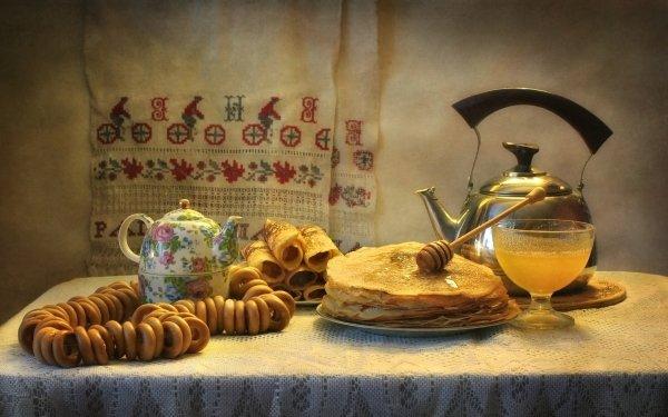 Photography Still Life Honey Teapot Crêpe HD Wallpaper | Background Image
