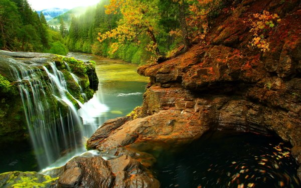 Earth Waterfall Waterfalls Rock River Forest Mountain HD Wallpaper | Background Image