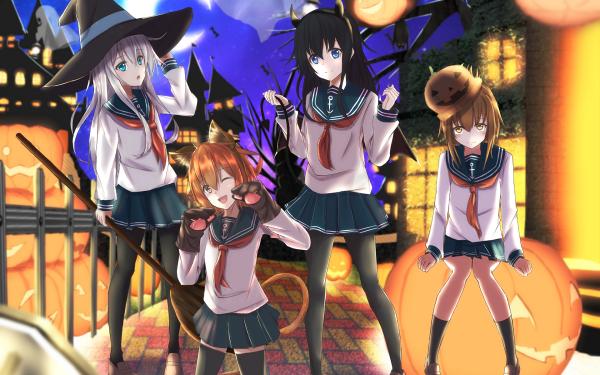 Anime Kantai Collection Akatsuki Hibiki Ikazuchi Inazuma HD Wallpaper | Background Image