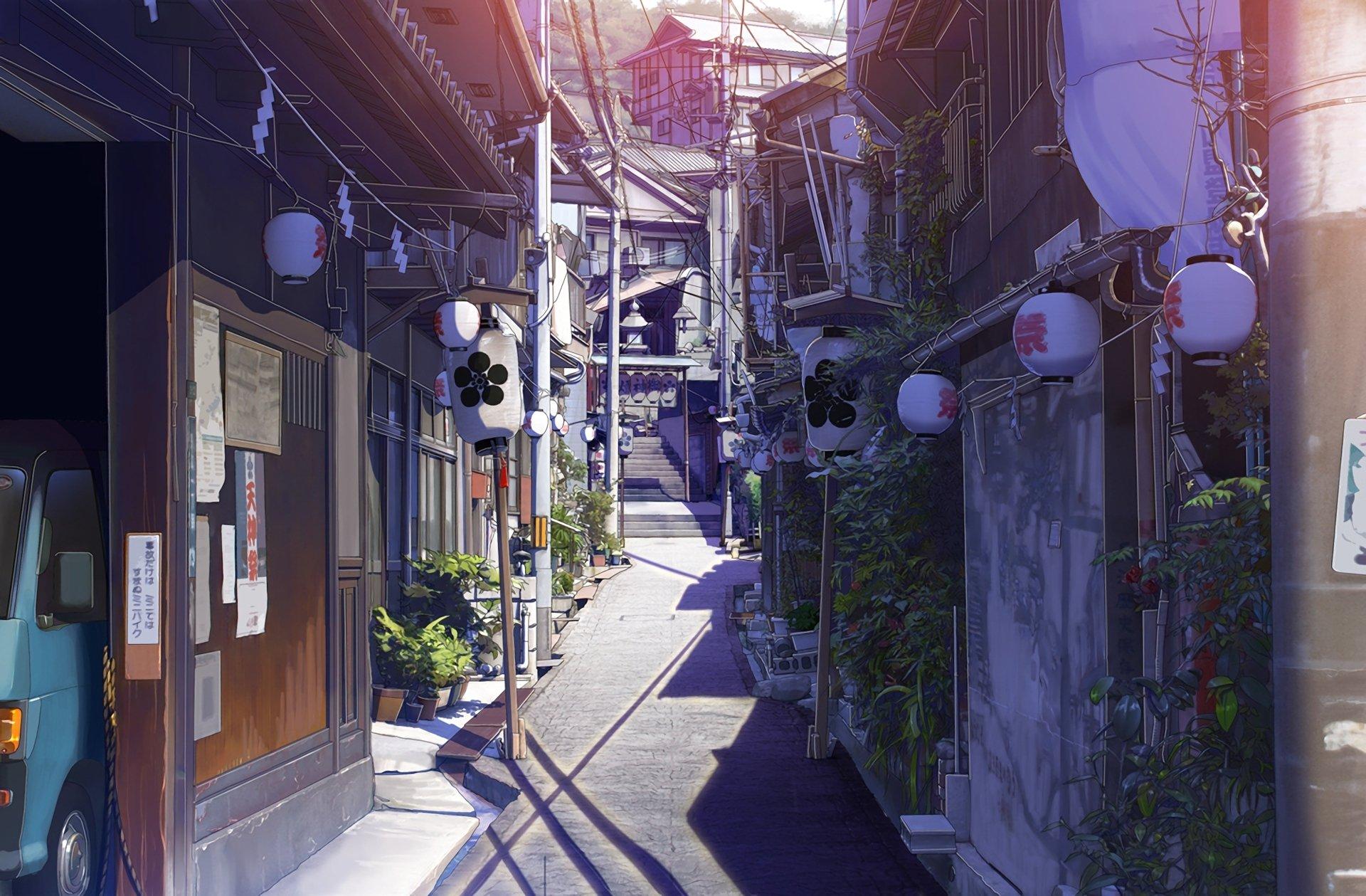 Anime - Original  Alley Oriental Town Power Line House Lantern Wallpaper