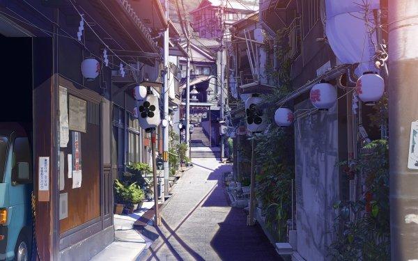 Anime Original Alley Orientalisch Stadt Stromleitung Haus Laterne HD Wallpaper | Hintergrund