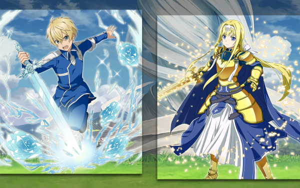 Anime Sword Art Online: Alicization Sword Art Online Sword Art Online: Memory Defrag Woman Warrior Blonde Long Hair Blue Eyes Eugeo Alice Zuberg Blue Rose Sword HD Wallpaper | Background Image