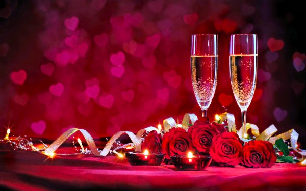 Holiday Valentine's Day Rose Champagne Bouquet Heart HD Wallpaper | Background Image