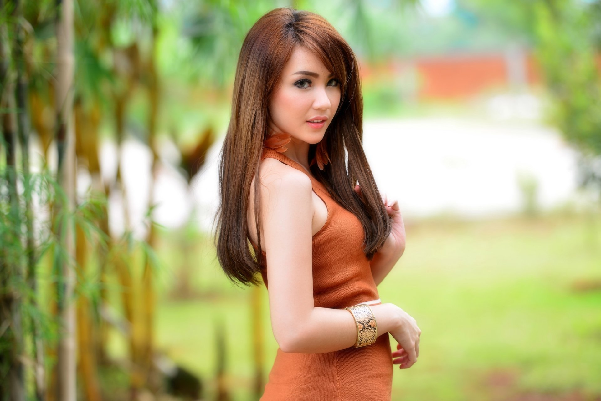 Women - Asian  Woman Model Girl Depth Of Field Brunette Orange Dress Wallpaper