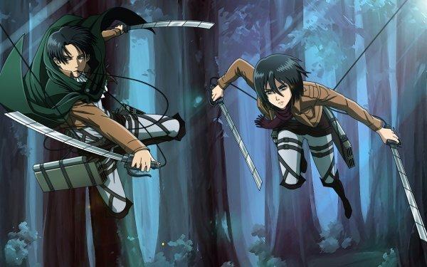 Anime Attack On Titan Shingeki No Kyojin Levi Ackerman Mikasa Ackerman HD Wallpaper | Background Image