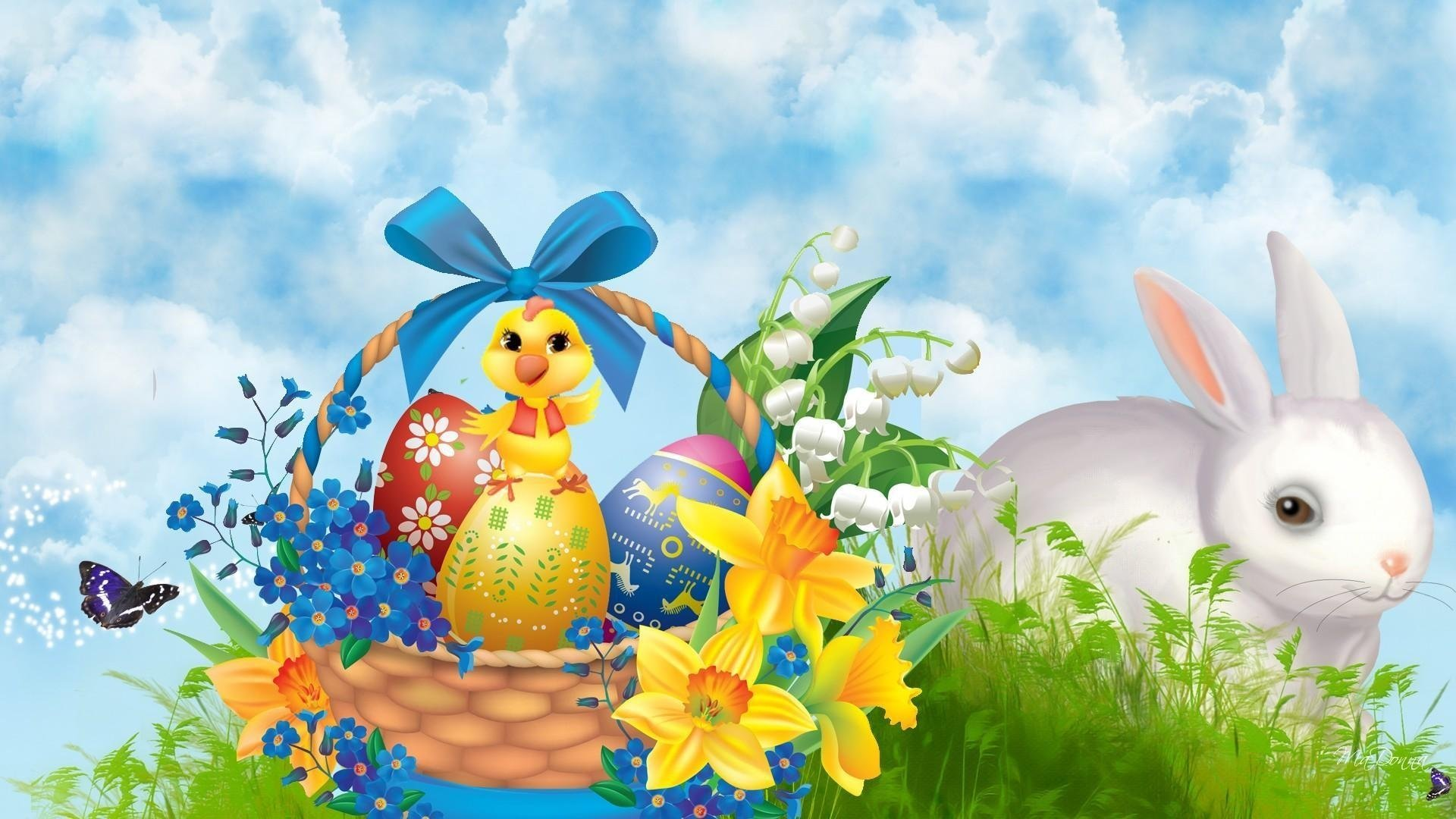 Holiday - Easter  Holiday Bunny Chick Basket Easter Egg Grass Wallpaper