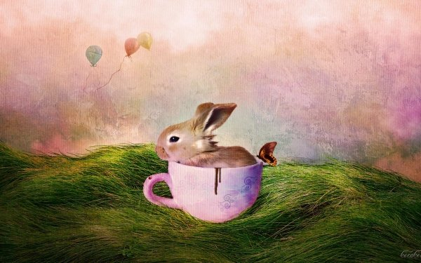 Artistic Painting Holiday Easter Bunny Cup Grass Balloon HD Wallpaper | Background Image