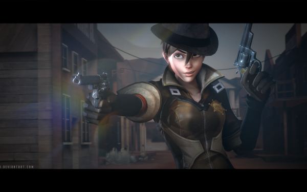 Video Game Overwatch Tracer Sheriff HD Wallpaper   Background Image