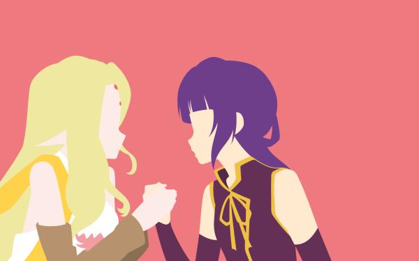Anime No Game No Life Fiel Nirvalen Clammy Zell Blonde Long Hair Purple Hair Minimalist HD Wallpaper | Background Image
