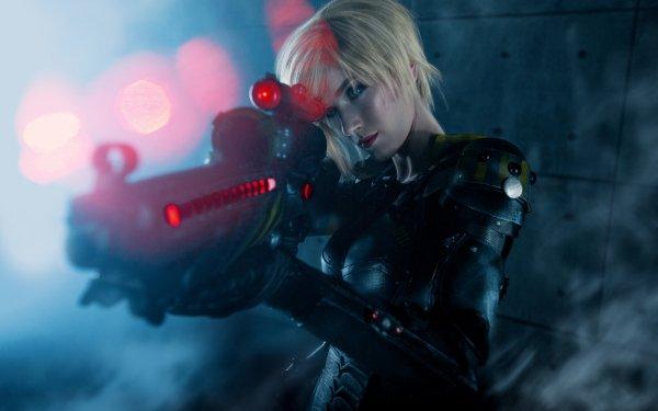 Women Cosplay Sergeant Calhoun Wreck-It Ralph Blonde Blue Eyes Short Hair Weapon Gun HD Wallpaper   Background Image