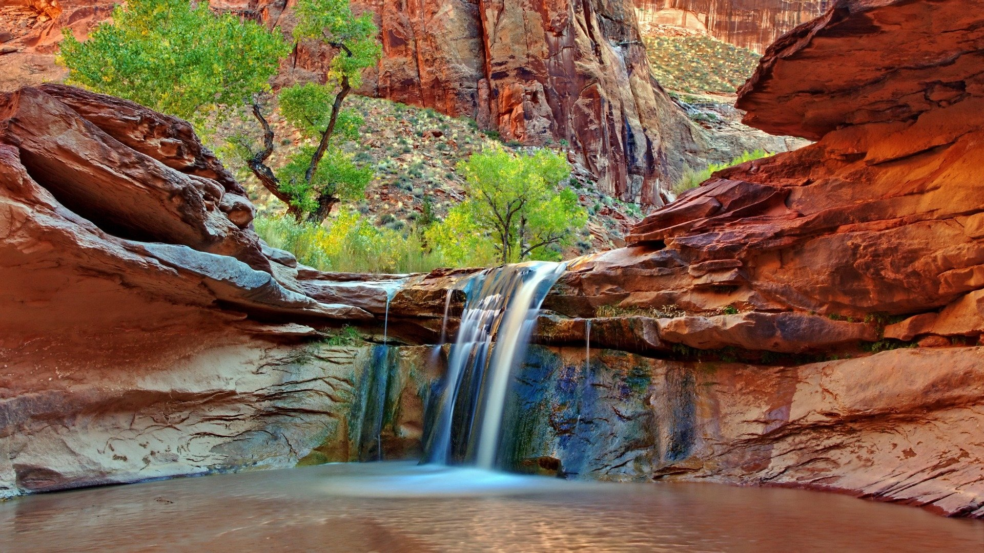 Earth - Waterfall  Earth Rock Canyon Wallpaper