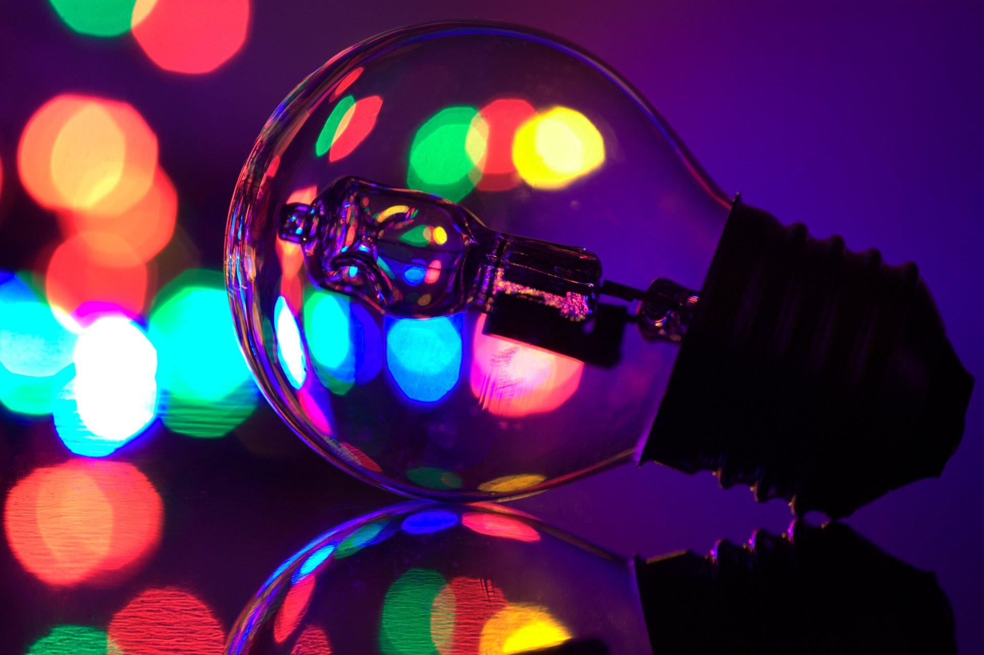 Man Made - Light Bulb  Reflection Close-Up Bokeh Colors Wallpaper