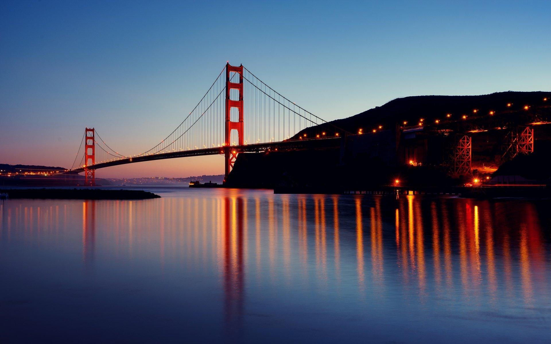 Рукотворное - Золотой Ворота  Мост Ночь Отражение Обои