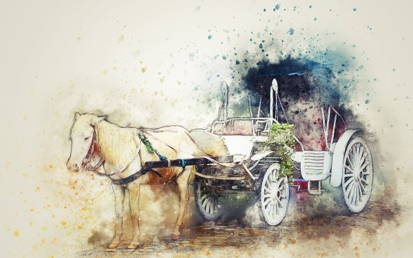 Vehicles Horse Drawn Vehicle Horse Cart Watercolor Carriage HD Wallpaper | Background Image