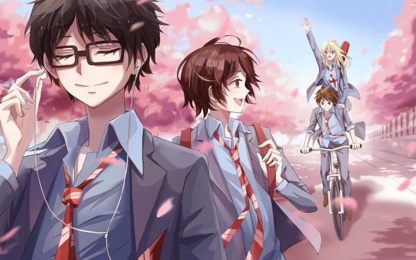 Anime Your Lie in April Kaori Miyazono Kousei Arima Tsubaki Sawabe Ryota Watari HD Wallpaper | Background Image