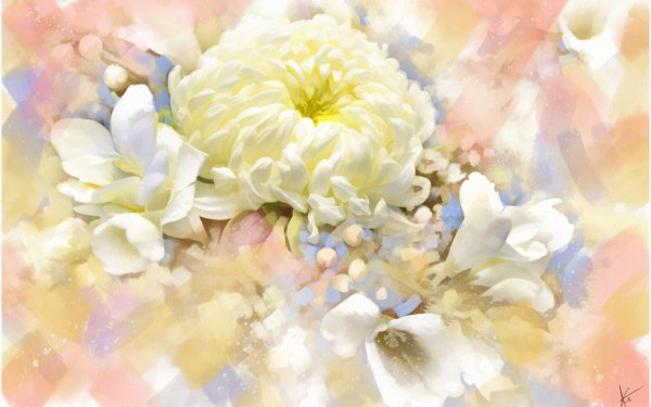 Artistic Flower Flowers Painting Chrysanthemum White Flower HD Wallpaper   Background Image