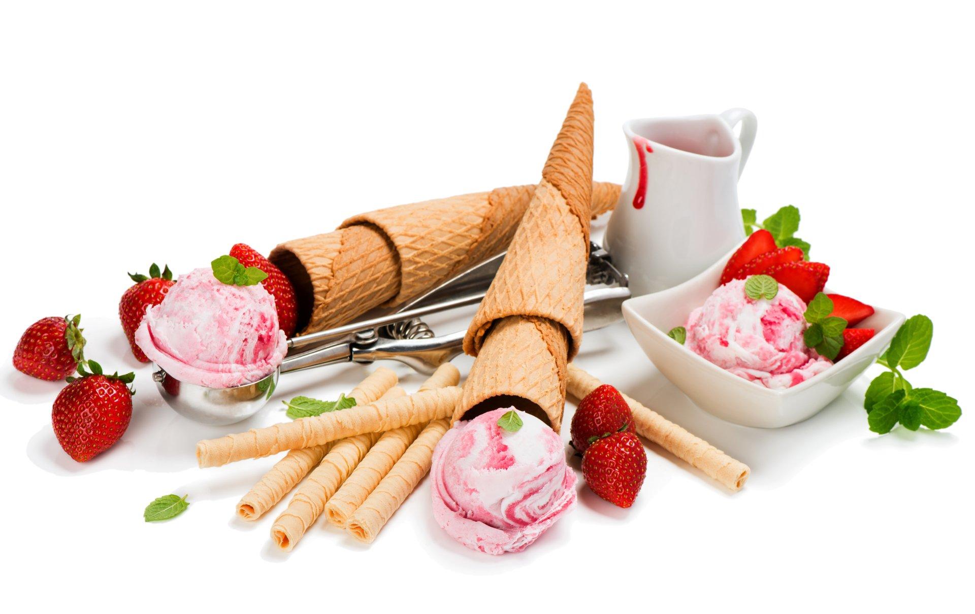 Food - Ice Cream  Still Life Waffle Cone Strawberry Wallpaper
