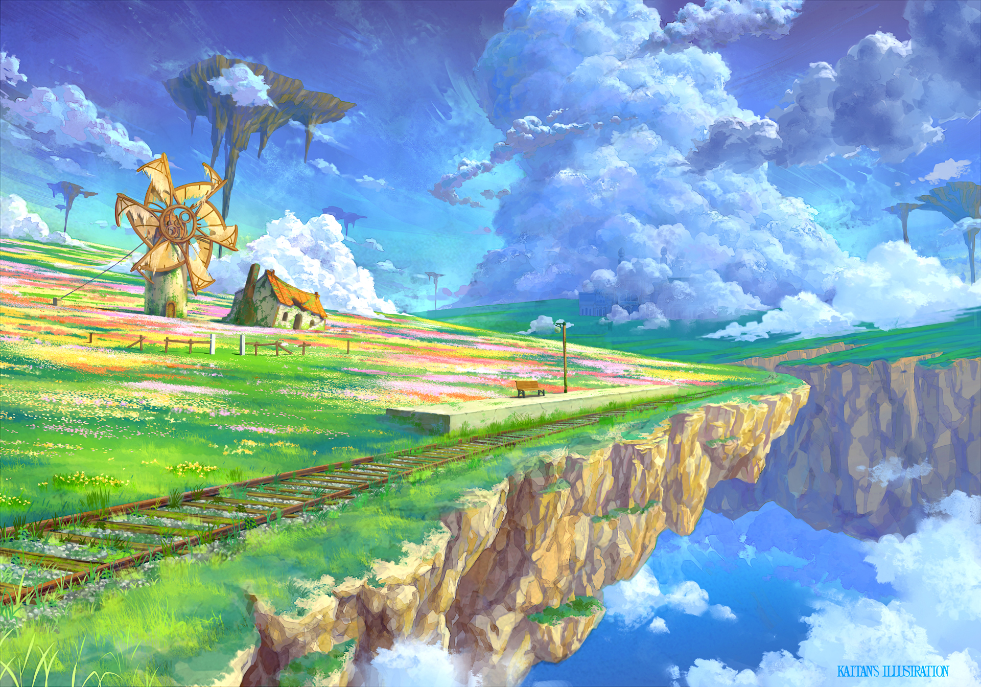 Anime - Original  Cloud Landscape Flower Scenic Sky Train Station Windmill Nature Floating Island Wallpaper