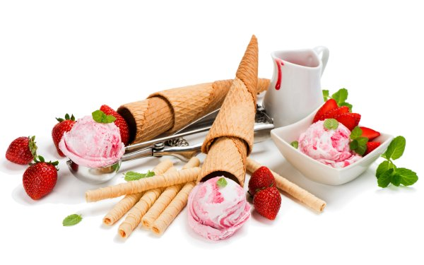 Food Ice Cream Still Life Waffle Cone Strawberry HD Wallpaper | Background Image