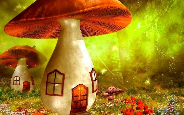 Fantasy House Artistic Mushroom Cottage Flower Spring HD Wallpaper | Background Image