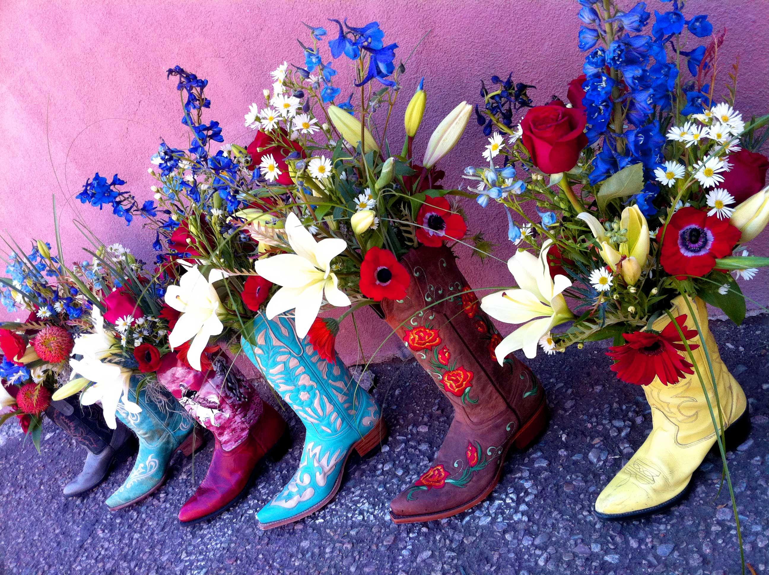 Flowers in Cowboy Boots HD Wallpaper