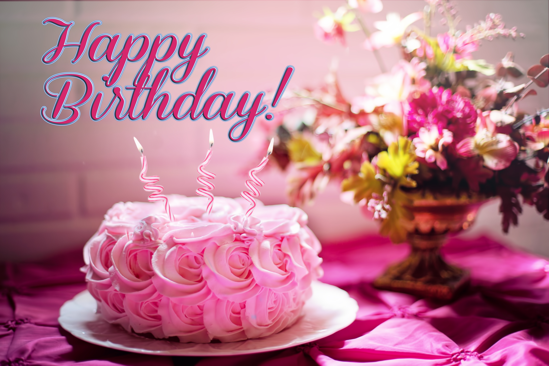 Pink Rose Birthday Cake 5k Retina Ultra Hd Wallpaper Background