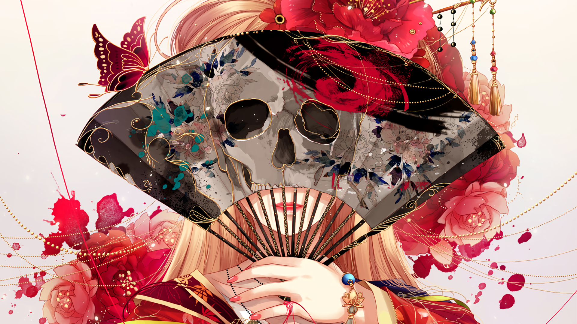 Anime - Original  Skull Flower Blonde Butterfly Original (Anime) Fan Girl Wallpaper