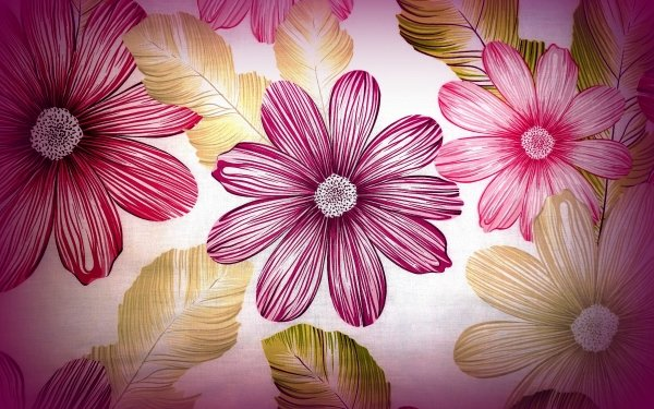 Artistic Painting Flower Anemone Purple Pink HD Wallpaper   Background Image