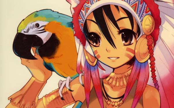 Anime Original Headdress Brown Eyes Black Hair Parrot HD Wallpaper | Background Image