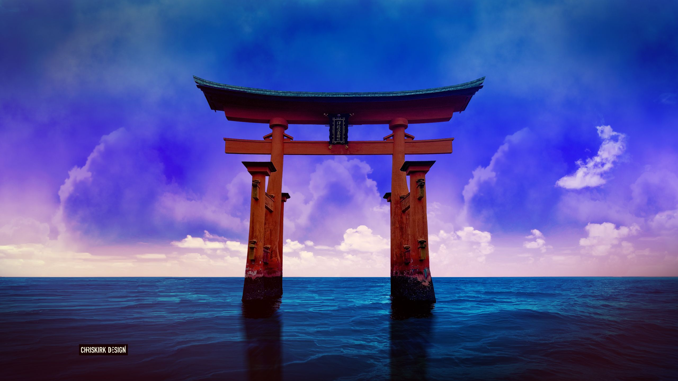 A Torii Gate In The Japanese Sea Hd Wallpaper Hintergrund