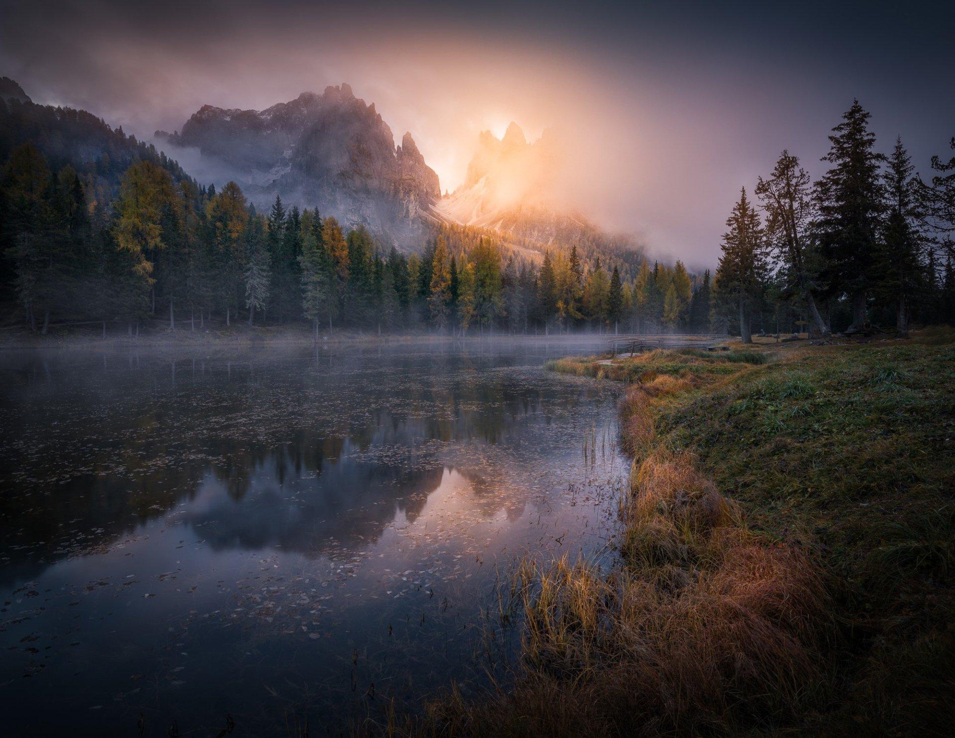 Earth - Fall  Forest Rock Cliff River Fog Lake Wallpaper