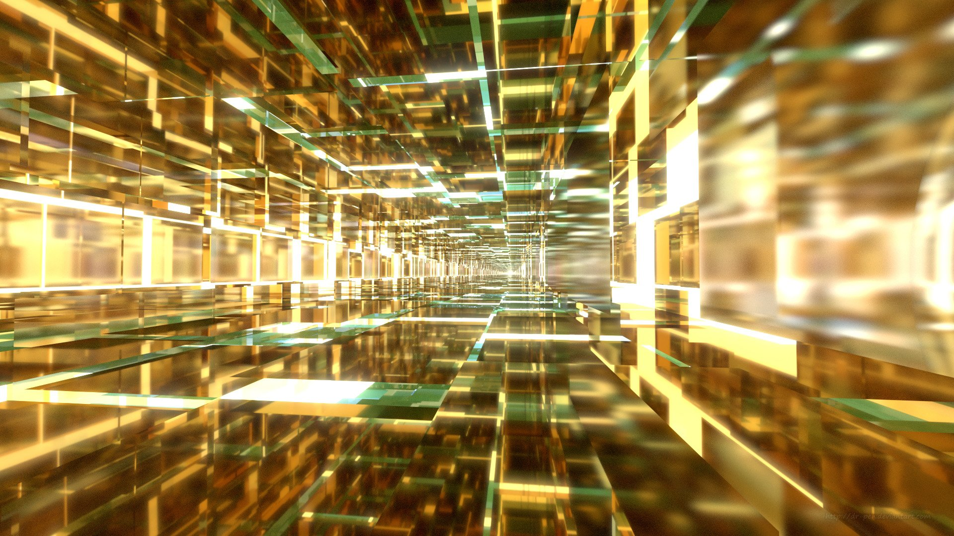 CGI - Abstract  Blender 3D Digital Yellow Tiles Square Tunnel Bright Wallpaper