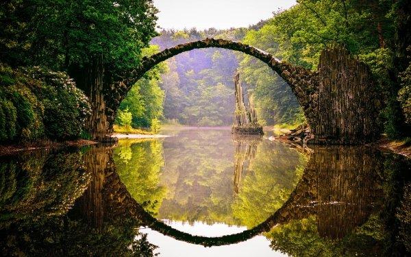 Man Made Devil's Bridge Park Kromlau Germany Bridge Reflection River HD Wallpaper | Background Image