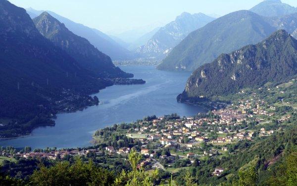 Photography Lake Lakes Lake Idro Brescia Lombardy Italy Mountain Town Haze HD Wallpaper   Background Image