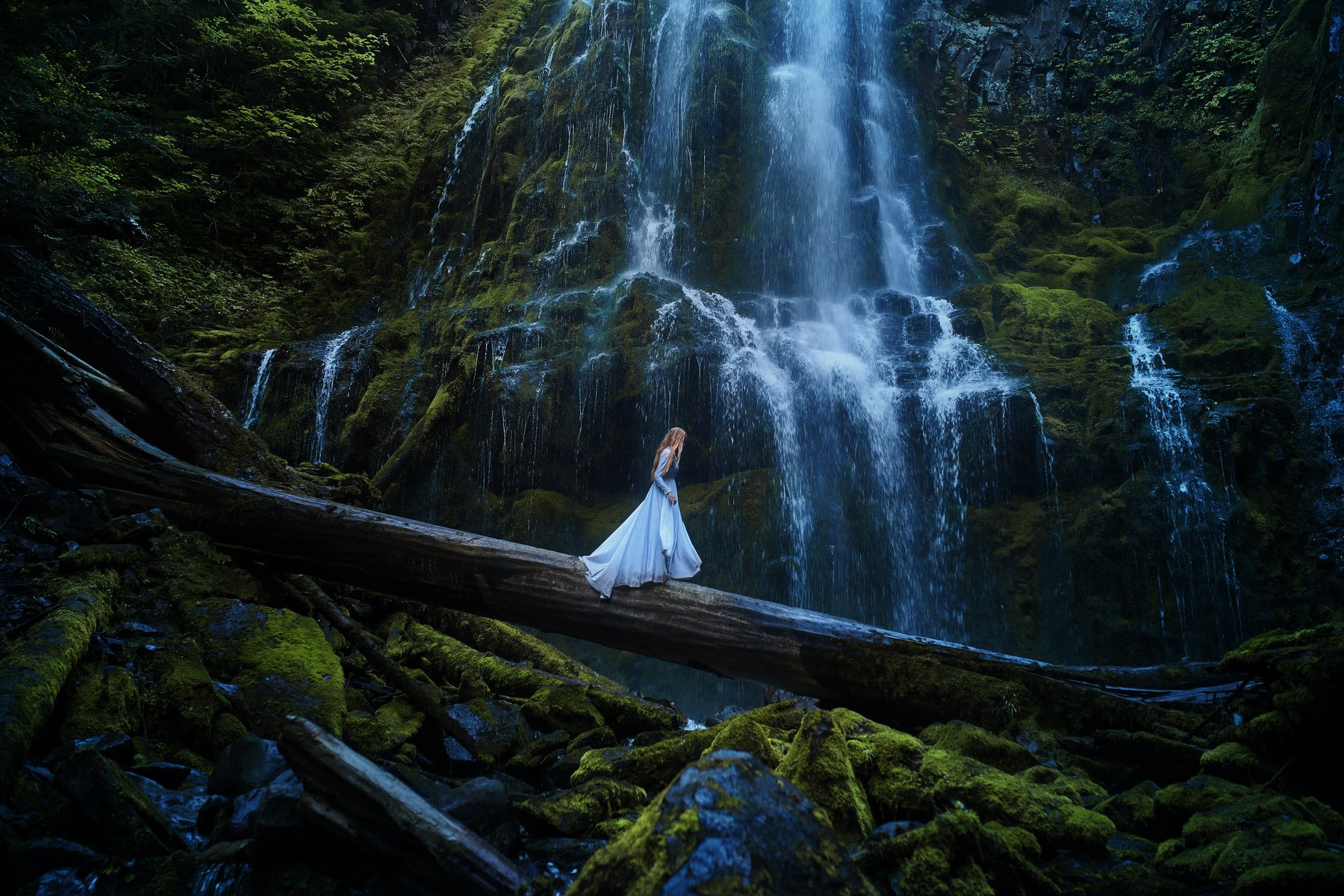 Women - Mood  Blue Dress Girl Waterfall Woman Forest Log Wallpaper